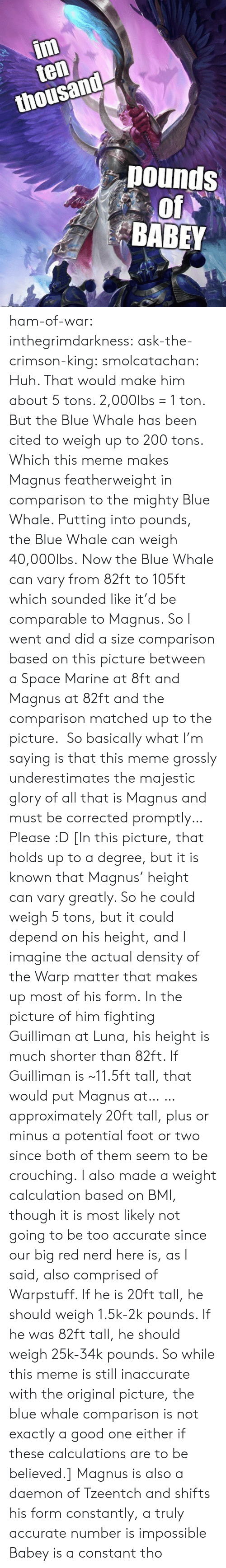 mammals: im  ten  thousand  pounds  of  BABEY ham-of-war: inthegrimdarkness:   ask-the-crimson-king:   smolcatachan:  Huh. That would make him about 5 tons. 2,000lbs = 1 ton. But the Blue Whale has been cited to weigh up to 200 tons. Which this meme makes Magnus featherweight in comparison to the mighty Blue Whale. Putting into pounds, the Blue Whale can weigh 40,000lbs. Now the Blue Whale can vary from 82ft to 105ft which sounded like it'd be comparable to Magnus. So I went and did a size comparison based on this picture between a Space Marine at 8ft and Magnus at 82ft and the comparison matched up to the picture.  So basically what I'm saying is that this meme grossly underestimates the majestic glory of all that is Magnus and must be corrected promptly…Please :D  [In this picture, that holds up to a degree, but it is known that Magnus' height can vary greatly. So he could weigh 5 tons, but it could depend on his height, and I imagine the actual density of the Warp matter that makes up most of his form. In the picture of him fighting Guilliman at Luna, his height is much shorter than 82ft. If Guilliman is ~11.5ft tall, that would put Magnus at… … approximately 20ft tall, plus or minus a potential foot or two since both of them seem to be crouching. I also made a weight calculation based on BMI, though it is most likely not going to be too accurate since our big red nerd here is, as I said, also comprised of Warpstuff. If he is 20ft tall, he should weigh 1.5k-2k pounds. If he was 82ft tall, he should weigh 25k-34k pounds. So while this meme is still inaccurate with the original picture, the blue whale comparison is not exactly a good one either if these calculations are to be believed.]   Magnus is also a daemon of Tzeentch and shifts his form constantly, a truly accurate number is impossible    Babey is a constant tho