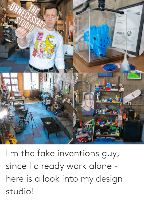 inventions: I'm the fake inventions guy, since I already work alone - here is a look into my design studio!