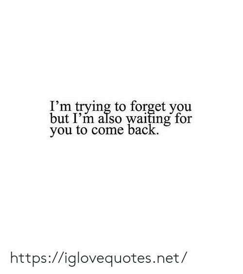 forget you: I'm trying to forget you  but I'm also waiting for  you to come back. https://iglovequotes.net/