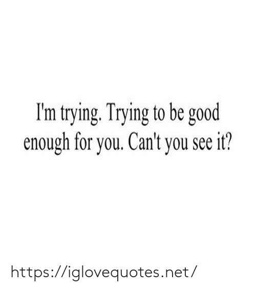 You See It: I'm trying. Trying to be good  enough for you. Can't you see it? https://iglovequotes.net/
