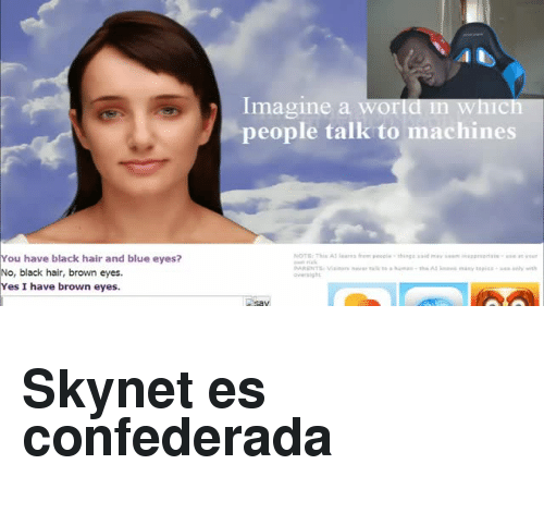 Black, Blue, and Hair: Imagine a world in which  people talk to machines  You have black hair and blue eyes?  No, black hair, brown eyes.  Yes I have brown eyes.  oversight <h2>Skynet es confederada<br/></h2>
