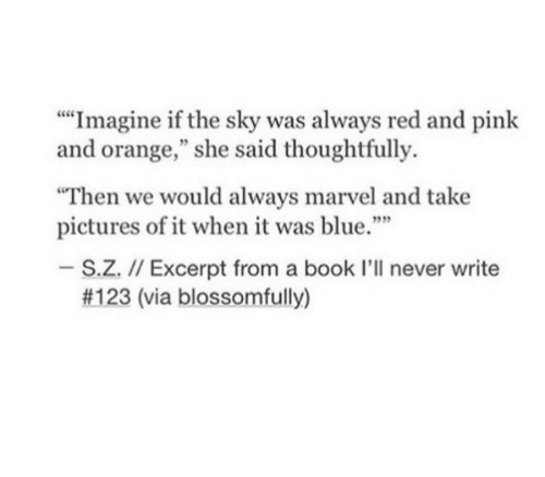 "Blue, Book, and Marvel: """"Imagine if the sky was always red and pink  and orange,"" she said thoughtfully.  Then we would always marvel and take  pictures of it when it was blue.""  939  S.Z. I/ Excerpt from a book I'll never write  #123 (via blossomfully)"