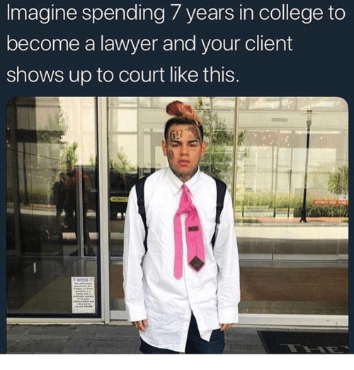 College, Lawyer, and Dank Memes: Imagine  spending  7  years  in  college  to  become a lawyer and your client  shows up to court like this