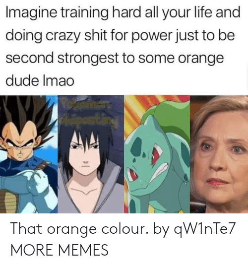 Crazy, Dank, and Dude: Imagine training hard all your life and  doing crazy shit for power just to be  second strongest to some orange  dude Imao That orange colour. by qW1nTe7 MORE MEMES