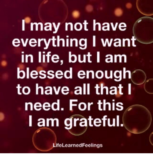 Blessed, Life, and Memes: Imay not have  everything I want  in life, but I am  blessed enough  to have all that I  need. For this  I am grateful.  ifeLcarnedFeelings