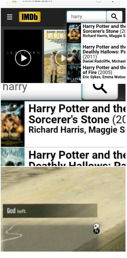 richard harris: IMDb  harry  Harry Potter and th  Sorcerer's Stone (2(  Richard Harris, Maggie s  HARRY DEANS  Harry Potter and the  Deathly Hallows: Pa  (2011)  Daniel Radcliffe, Michael  G E OSTR M  Harry Potter and the  of Fire (2005)  Eric Sykes, Emma Watsoi  harry  Harry Potter and the  Sorcerer's Stone (20  Richard Harris, Maggie S  Harry Potter and the  God left