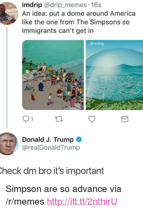 """America, Memes, and The Simpsons: imdrip @drip_memes. 16s  An idea: put a dome around America  like the one from The Simpsons so  immigrants can't get in  @imdrip  9 1  Donald J. Trump  @realDonaldTrump  heck dm bro it's important <p>Simpson are so advance via /r/memes <a href=""""http://ift.tt/2nthirU"""">http://ift.tt/2nthirU</a></p>"""