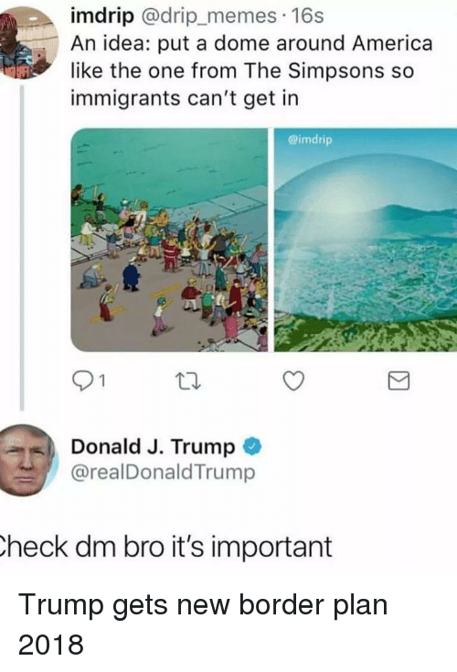 America, Memes, and The Simpsons: imdrip @drip_memes 16s  An idea: put a dome around America  like the one from The Simpsons so  immigrants can't get in  @imdrip  91  Donald J. Trump  @realDonaldTrump  heck dm bro it's important Trump gets new border plan 2018