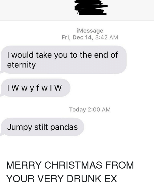 Christmas, Drunk, and Relationships: iMessage  Fri, Dec 14, 3:42 AM  I would take you to the end of  eternity  Today 2:00 AM  Jumpy stilt pandas MERRY CHRISTMAS FROM YOUR VERY DRUNK EX