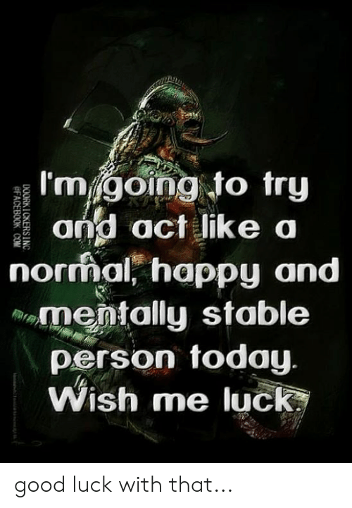 Memes, Good, and Happy: I'mgoing to try  and act like a  norrmal' happy and  mentally stable  person today  Wish me luck good luck with that...