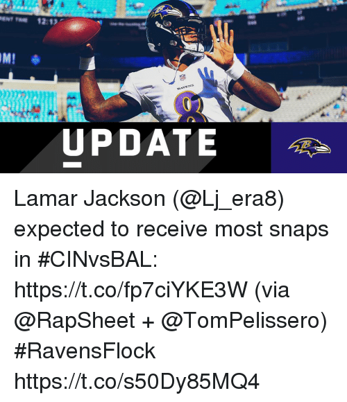Memes, 🤖, and Lamar: IML  RAV  VENS  UPDATE Lamar Jackson (@Lj_era8) expected to receive most snaps in #CINvsBAL: https://t.co/fp7ciYKE3W (via @RapSheet + @TomPelissero) #RavensFlock https://t.co/s50Dy85MQ4
