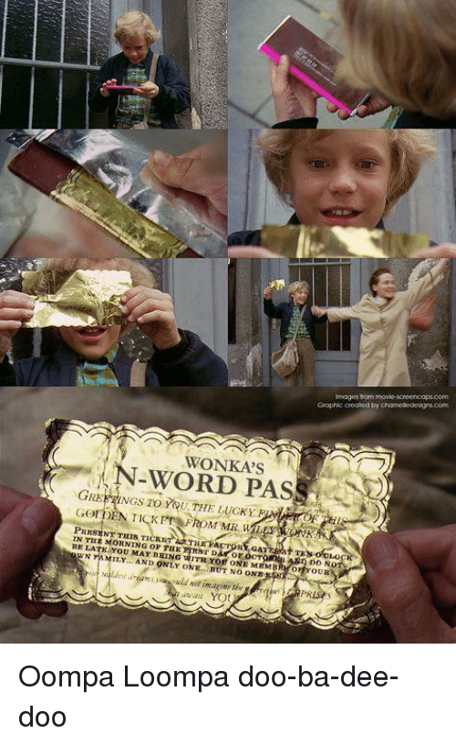 Movie, Word, and Only One: Imoges thom movie-screencops.com  Graphic crealed by ch  WONKA'S  WORD PAS  GREPE İNGS TO YOU, THE LUCKY FAIrry-pil  PRESENT THIS TICRST  IN THE MORNING OP THE RST DA OF OOT  BE LATE YOU MAY BRING WITH YOU ONE MEMBRKO YOUR  WNMMI. AND ONLY ONE.TUT NO ONRR  aldest uramodor im.agime the Oompa Loompa doo-ba-dee-doo