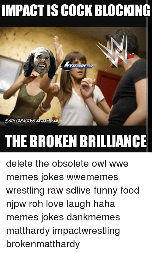 Wwe Memes: IMPACT ISCOCK BLOCKING  @STILLREALIOUs an Insiagram  THE BROKENBRILLIANCE delete the obsolete owl wwe memes jokes wwememes wrestling raw sdlive funny food njpw roh love laugh haha memes jokes dankmemes matthardy impactwrestling brokenmatthardy