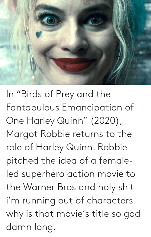 """Robbie: In """"Birds of Prey and the Fantabulous Emancipation of One Harley Quinn"""" (2020), Margot Robbie returns to the role of Harley Quinn. Robbie pitched the idea of a female-led superhero action movie to the Warner Bros and holy shit i'm running out of characters why is that movie's title so god damn long."""