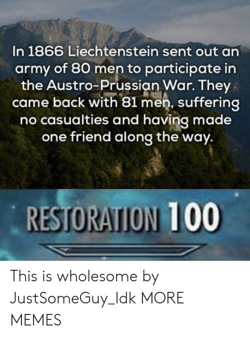 Prussian: In 1866 Liechtenstein sent out an  army of 80 men to participate in  the Austro-Prussian War. They  came back with 81 men, suffering  no casualties and having made  one friend along the way.  RESTORATION 100 This is wholesome by JustSomeGuy_Idk MORE MEMES