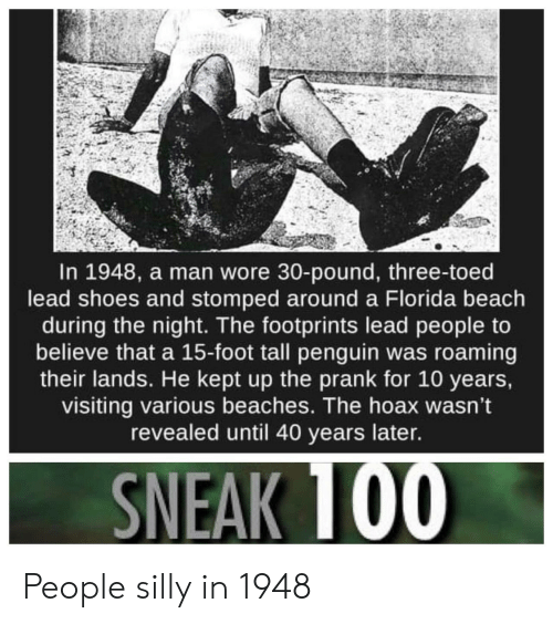 Prank, Shoes, and Beach: In 1948, a man wore 30-pound, three-toed  lead shoes and stomped around a Florida beach  during the night. The footprints lead people to  believe that a 15-foot tall penguin was roaming  their lands. He kept up the prank for 10 years,  visiting various beaches. The hoax wasn't  revealed until 40 years later. People silly in 1948
