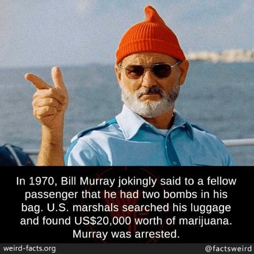 Bill Murray: In 1970, Bill Murray jokingly said to a fellow  passenger that he had two bombs in his  bag. U.S. marshals searched his luggage  and found US$20,000 worth of marijuana.  Murray was arrested.  weird-facts.org  @factsweird
