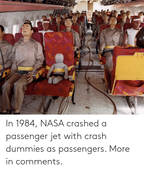 Passengers: In 1984, NASA crashed a passenger jet with crash dummies as passengers. More in comments.