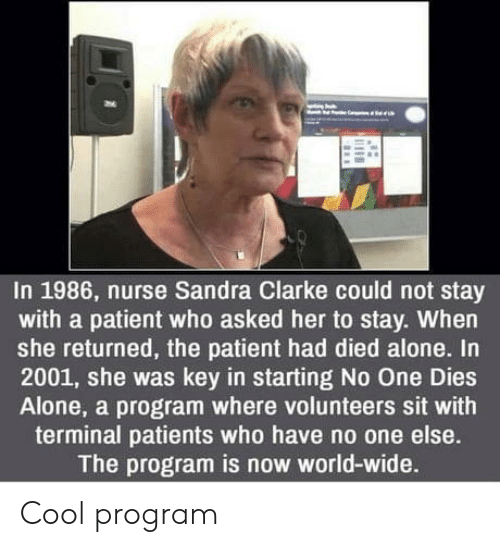 terminal: In 1986, nurse Sandra Clarke could not stay  with a patient who asked her to stay. When  she returned, the patient had died alone. In  2001, she was key in starting No One Dies  Alone, a program where volunteers sit with  terminal patients who have no one else.  The program is now world-wide. Cool program