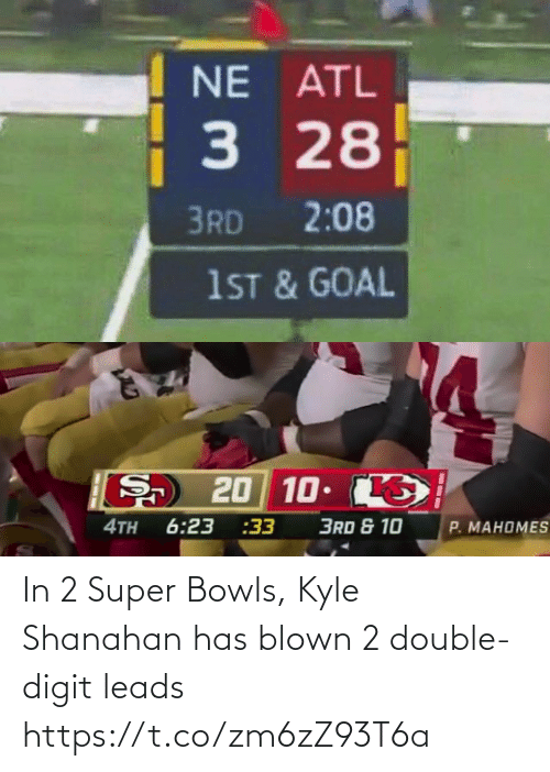 Leads: In 2 Super Bowls, Kyle Shanahan has blown 2 double-digit leads https://t.co/zm6zZ93T6a