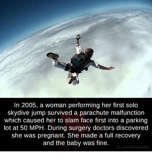 skydive: In 2005, a woman performing her first solo  skydive jump survived a parachute malfunction  which caused her to slam face first into a parking  lot at 50 MPH. During surgery doctors discovered  she was pregnant. She made a full recovery  and the baby was fine.  fb.com/facts Weird