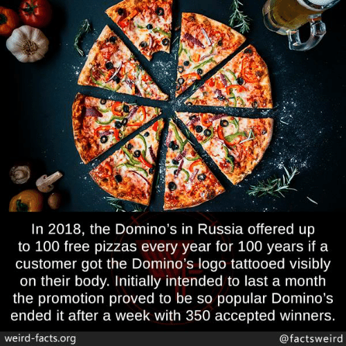 Facts, Memes, and Weird: In 2018, the Domino's in Russia offered up  to 100 free pizzas every year for 100 years if a  customer got the Domino's logo tattooed visibly  on their body. Initially intended to last a month  the promotion proved to be so popular Domino's  ended it after a week with 350 accepted winners  weird-facts.org  @factsweird