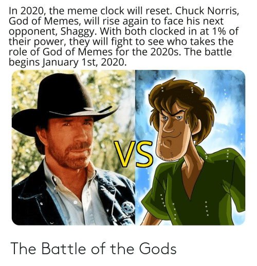 Will Fight: In 2020, the meme clock will reset. Chuck Norris,  God of Memes, will rise again to face his next  opponent, Shaggy. With both clocked in at 1% of  their power, they will fight to see who takes the  role of God of Memes for the 2020s. The battle  begins January 1st, 2020.  VS The Battle of the Gods