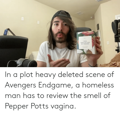 homeless man: In a plot heavy deleted scene of Avengers Endgame, a homeless man has to review the smell of Pepper Potts vagina.