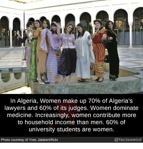 Memes, Flickr, and Women: In Algeria, women make up 70% of Algeria's  lawyers and 60% of its judges. Women dominate  medicine. Increasingly, women contribute more  to household income than men. 60% of  university students are women.  Photo courtesy of Yves Jalabert/flickr  @factsweird