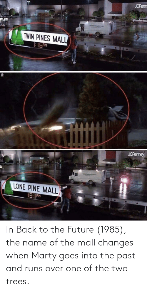 The Past: In Back to the Future (1985), the name of the mall changes when Marty goes into the past and runs over one of the two trees.