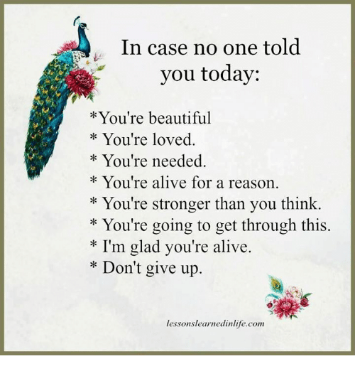 Lessoned: In case no one told  you today  You're beautiful  You're loved.  You're needed  You're alive for a reason.  You're stronger than you think.  You're going to get through this.  I'm glad you're alive.  Don't give up  lesson slearnedinlife.com