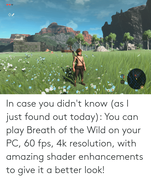 Better Look: In case you didn't know (as I just found out today): You can play Breath of the Wild on your PC, 60 fps, 4k resolution, with amazing shader enhancements to give it a better look!