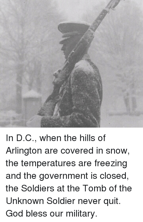 God, Memes, and Soldiers: In D.C., when the hills of Arlington are covered in snow, the temperatures are freezing and the government is closed, the Soldiers at the Tomb of the Unknown Soldier never quit.  God bless our military.