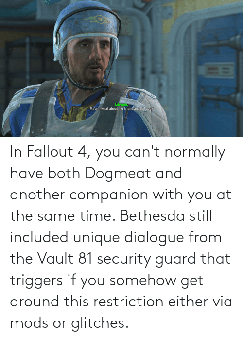 the vault: In Fallout 4, you can't normally have both Dogmeat and another companion with you at the same time. Bethesda still included unique dialogue from the Vault 81 security guard that triggers if you somehow get around this restriction either via mods or glitches.