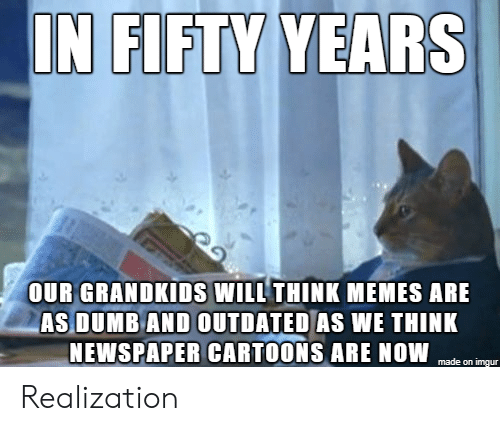 Cartoons: IN FIFTY YEARS  OUR GRANDKIDS WILL THINK MEMES ARE  AS DUMB AND OUTDATED AS WE THINK  NEWSPAPER CARTOONS ARE NOW  made on imgur Realization