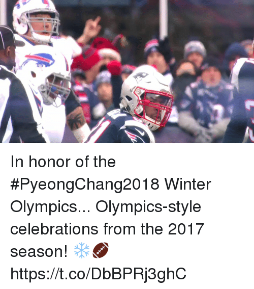 Memes, Winter, and Olympics: In honor of the #PyeongChang2018 Winter Olympics...  Olympics-style celebrations from the 2017 season! ❄️🏈 https://t.co/DbBPRj3ghC