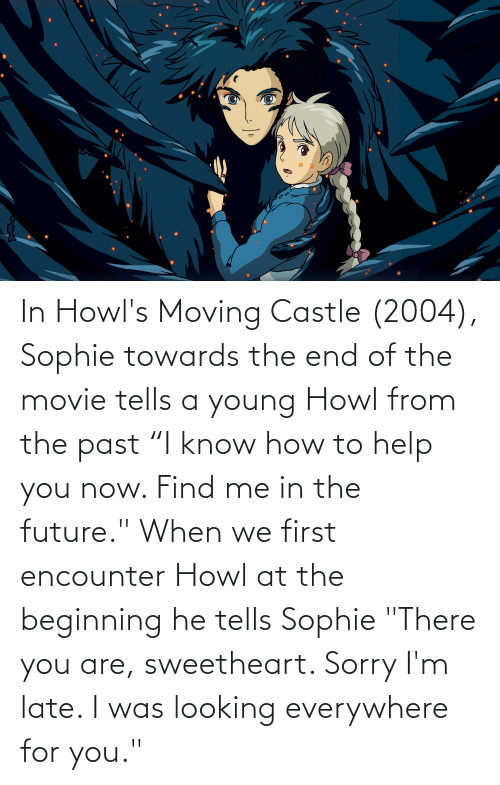 "The Past: In Howl's Moving Castle (2004), Sophie towards the end of the movie tells a young Howl from the past ""I know how to help you now. Find me in the future."" When we first encounter Howl at the beginning he tells Sophie ""There you are, sweetheart. Sorry I'm late. I was looking everywhere for you."""