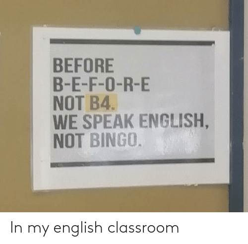 English: In my english classroom