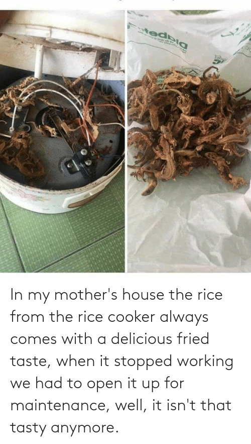 Mothers: In my mother's house the rice from the rice cooker always comes with a delicious fried taste, when it stopped working we had to open it up for maintenance, well, it isn't that tasty anymore.