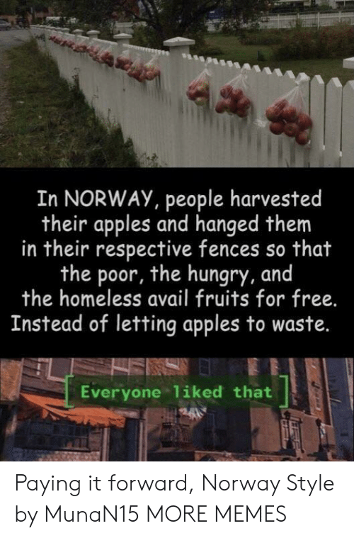 Dank, Homeless, and Hungry: In NORWAY, people harvested  their apples and hanged them  in their respective fences so that  the poor, the hungry, and  the homeless avail fruits for free.  Instead of letting apples to waste.  Everyone liked that Paying it forward, Norway Style by MunaN15 MORE MEMES
