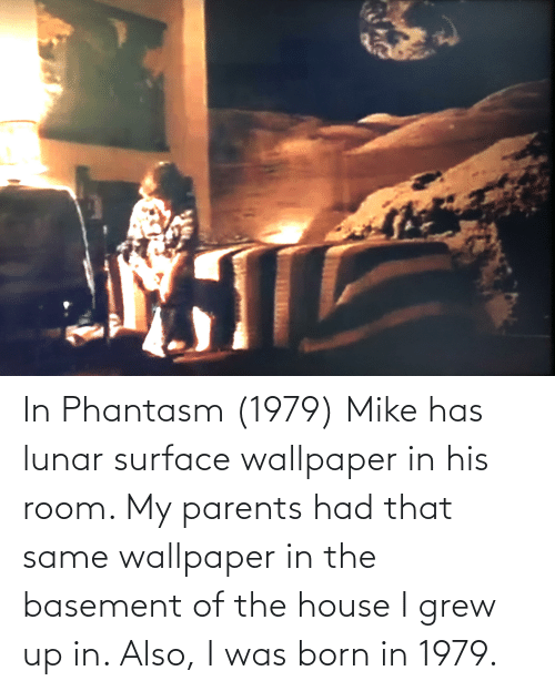 Wallpaper: In Phantasm (1979) Mike has lunar surface wallpaper in his room. My parents had that same wallpaper in the basement of the house I grew up in. Also, I was born in 1979.