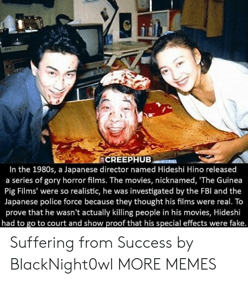 Dank, Fake, and Memes: In the 1980s, a Japanese director named Hideshi Hino released  a series of gory horror films. The movies, nicknamed, 'The Guinea  Pig Films' were so realistic, he was investigated by the FBl and the  Japanese police force because they thought his films were real. To  prove that he wasn't actually killing people in his movies, Hideshi  had to go to court and show proof that his special effects were fake. Suffering from Success by BlackNight0wl MORE MEMES