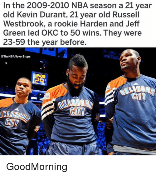 Russel Westbrook: In the 2009-2010 NBA season a 21 year  old Kevin Durant, 21 year old Russel  Westbrook, a rookie Harden and Jeff  Green led OKC to 50 wins. They were  23-59 the year before.  EED CAR  @TheNBANeverStops  2:00 GoodMorning