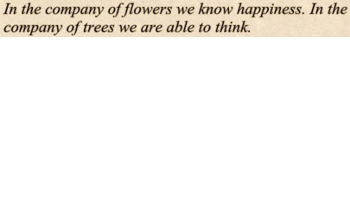 Flowers, Trees, and Happiness: In the company of flowers we know happiness. In the  company of trees we are able to think.