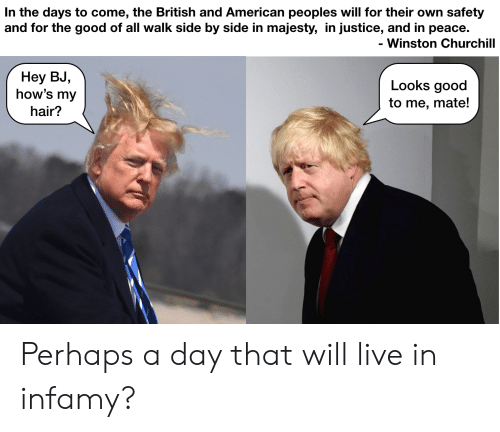 Looks Good To Me: In the days to come, the British and American peoples will for their own safety  and for the good of all walk side by side in majesty, in justice, and in peace.  Winston Churchill  Неу BJ,  how's my  Looks good  to me, mate!  hair? Perhaps a day that will live in infamy?