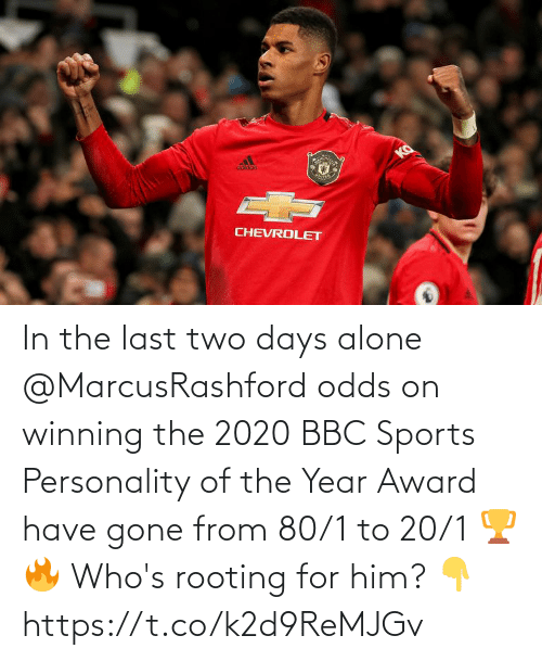 Being alone: In the last two days alone @MarcusRashford odds on winning the 2020 BBC Sports Personality of the Year Award have gone from 80/1 to 20/1 🏆🔥  Who's rooting for him? 👇 https://t.co/k2d9ReMJGv