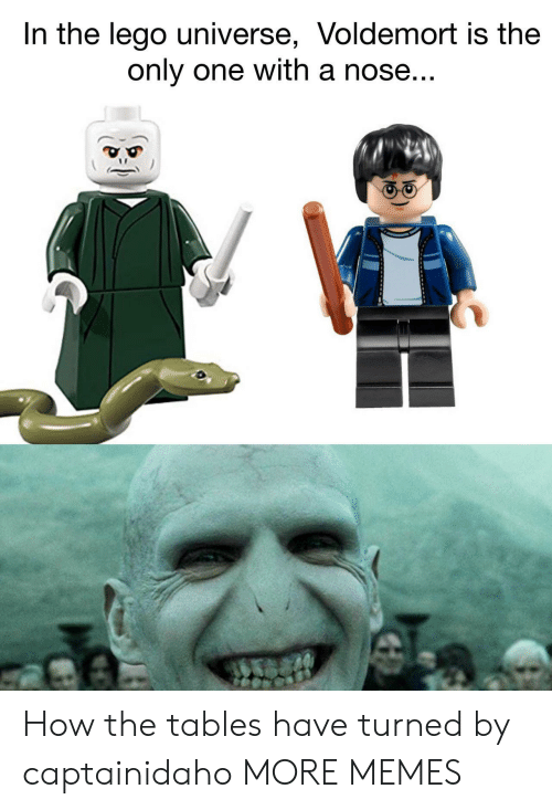 Dank, Lego, and Memes: In the lego universe, Voldemort is the  only one with a nose How the tables have turned by captainidaho MORE MEMES