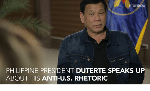 Duterte: IN THE  PHILIPPINE PRESIDENT DUTERTE SPEAKS UP  ABOUT HIS ANTI-U.S. RHETORIC