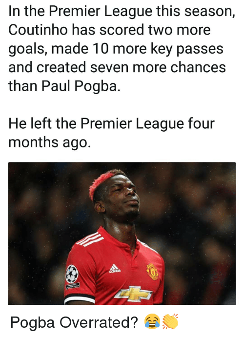 Goals, Memes, and Premier League: In the Premier League this season,  Coutinho has scored two more  goals, made 10 more key passes  and created seven more chances  than Paul Pogba  He left the Premier League four  months ago. Pogba Overrated? 😂👏