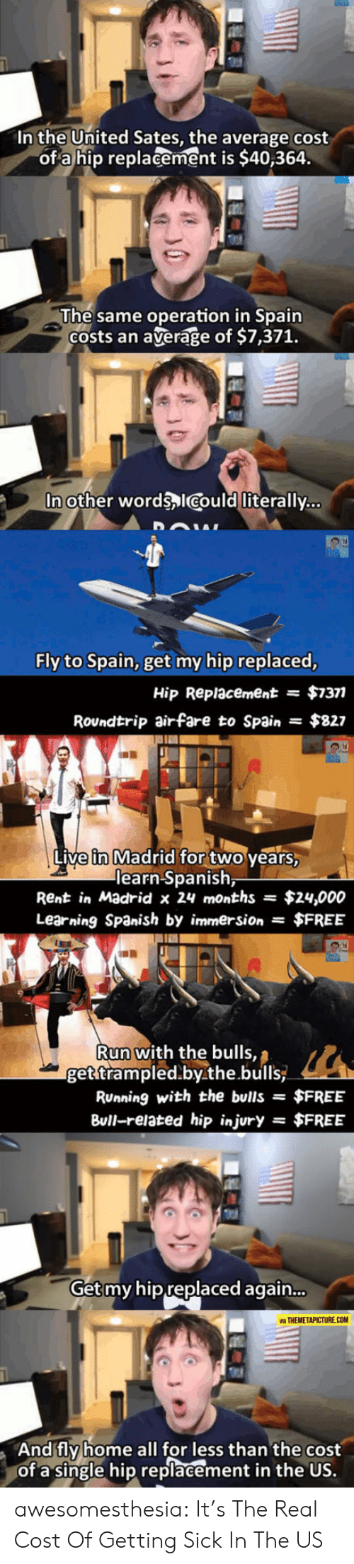 Injury: In the United Sates, the average cost  of a hip replacement is $40,364.  The same operation in Spain  Costs an  average of $7,371.  In other words ICould literally...  Fly to Spain, get my hip replaced,  $7377  Hip Replacement  =  Roundtrip airfare to Spain  $827  Live in Madrid for two years,  learn Spanish,  Rent in Madrid x 24 months  $24,000  Learning Spanish by immersion $FREE  Run with the bulls,  get trampled.by.the.bulls  RUnning with the bulls =  $FREE  Bull-related hip injury  $FREE  =  Get my hip replaced again...  VIA THEMETAPICTURE.COM  And fly home all for less than the cost  of a single hip replacement in the US. awesomesthesia:  It's The Real Cost Of Getting Sick In The US